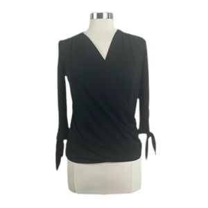 BR black front wrap tie sleeve Blouse